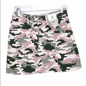 Denim Co. Camo Frayed Hem A-Line Skirt Size 6 NWT